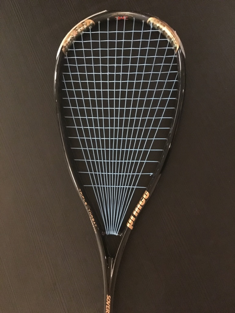 elongated teardrop squash racket